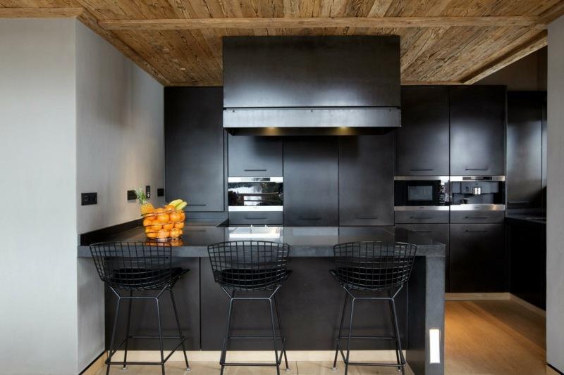 дизайн небольшой черной матовой кухни фото интерьер