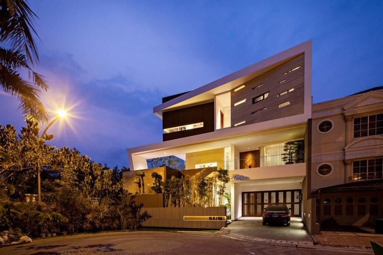 дом премиум класса дизайн фото фасад ночная подсветка