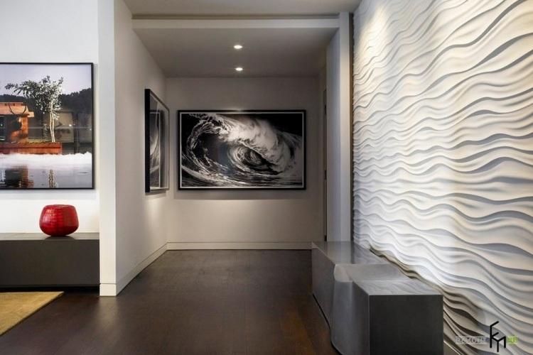 идеи дизайна коридора фото 3д стеновые панели волны белый