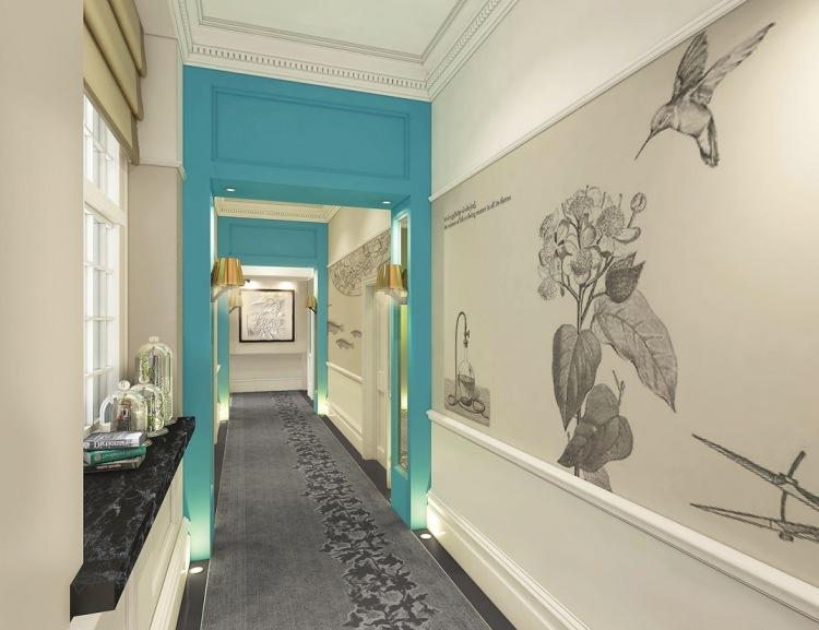 идеи дизайна коридора фото обои с цветами голубые мотивы