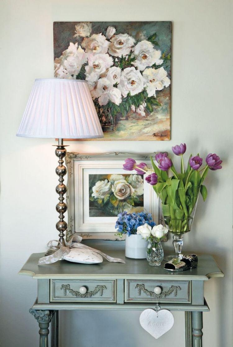 идеи дизайна коридора фото стол консоль цветы картина
