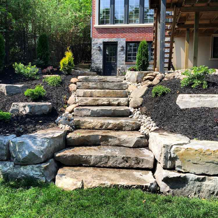 идея каменной садовой лестницы своими руками