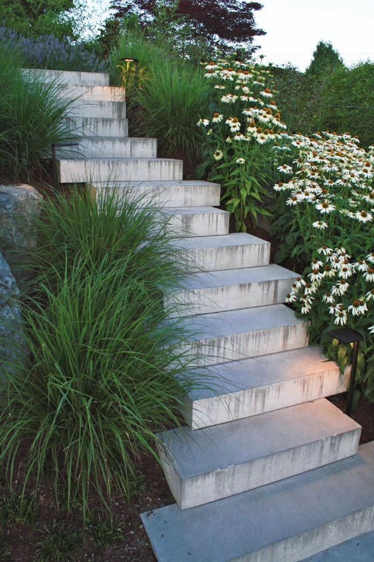 идея садовой лестницы своими руками из бетона современный дизайн
