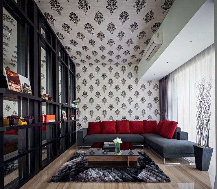 идея современного дизайна потолка фото обои