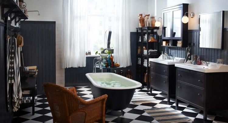 комната ванная ретро стиль фото черно-белая