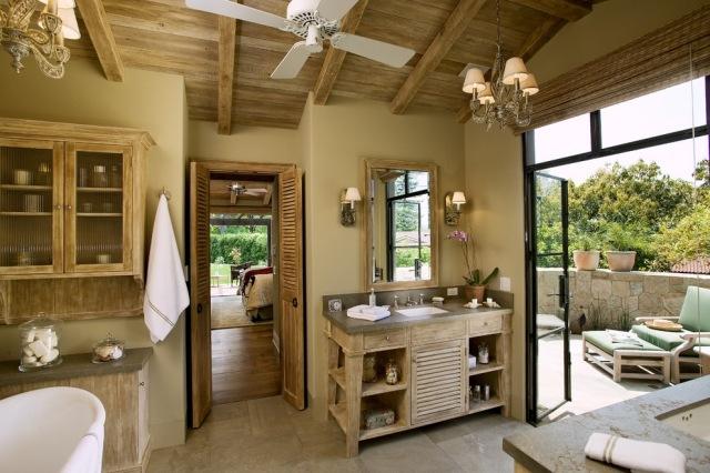 комната ванная ретро стиль фото люстра дерево камень
