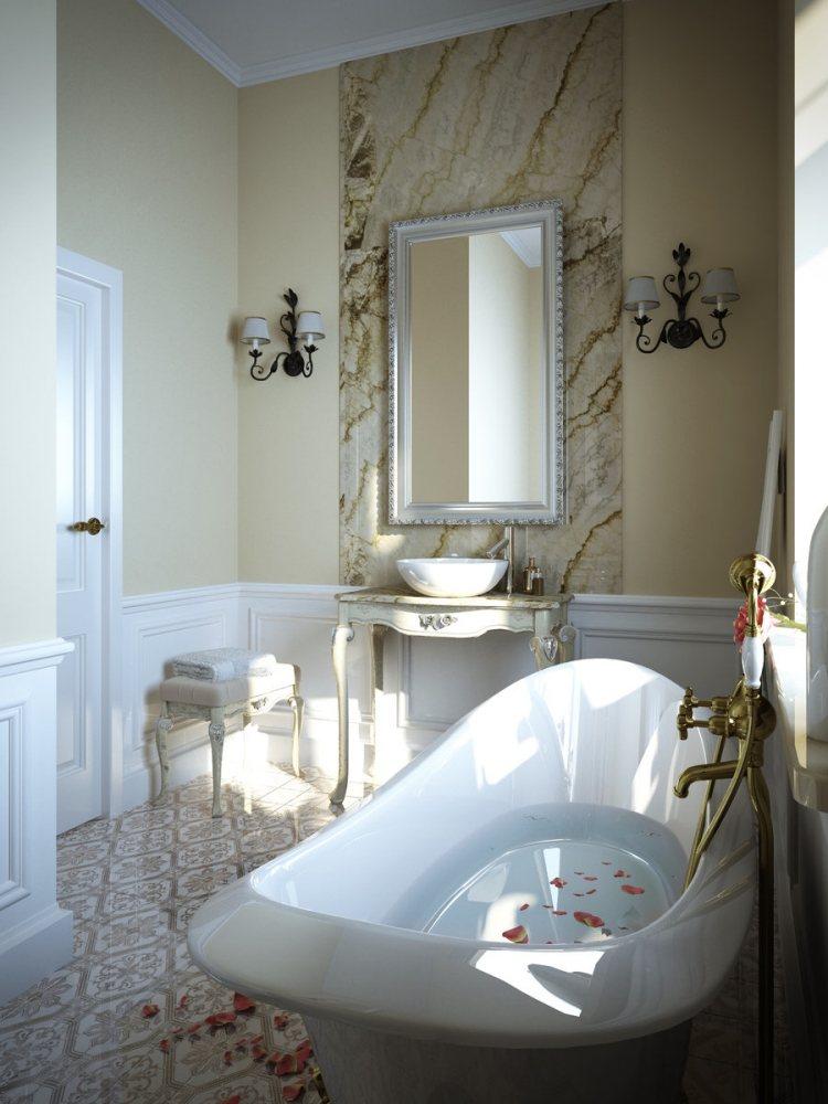 комната ванная ретро стиль фото отдельная ванна фарфор барокко