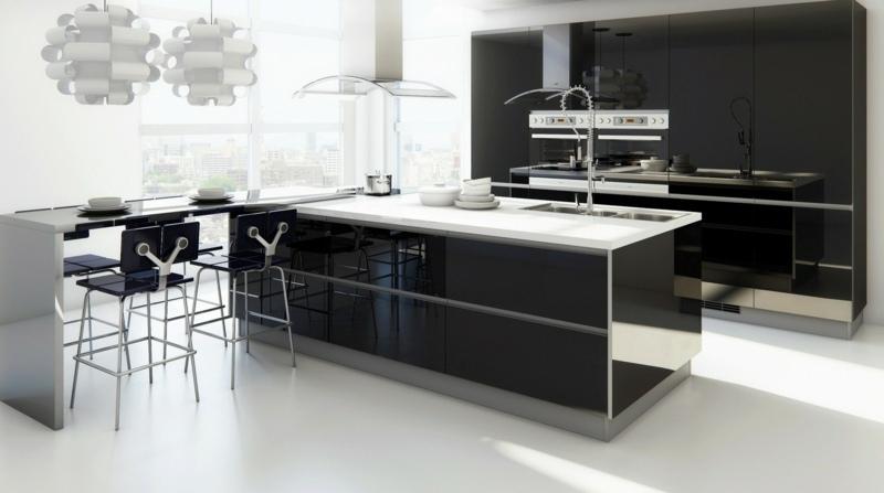 кухня в черно-белом цвете фото глянцевая
