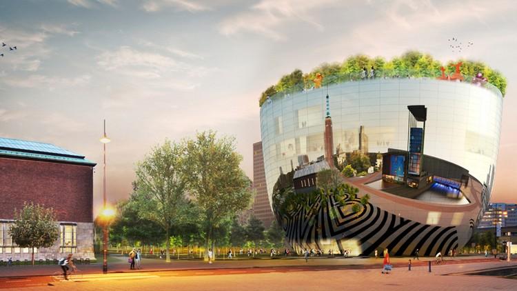современный фасад зеркальный фото проект музея нидерланды сад на крыше
