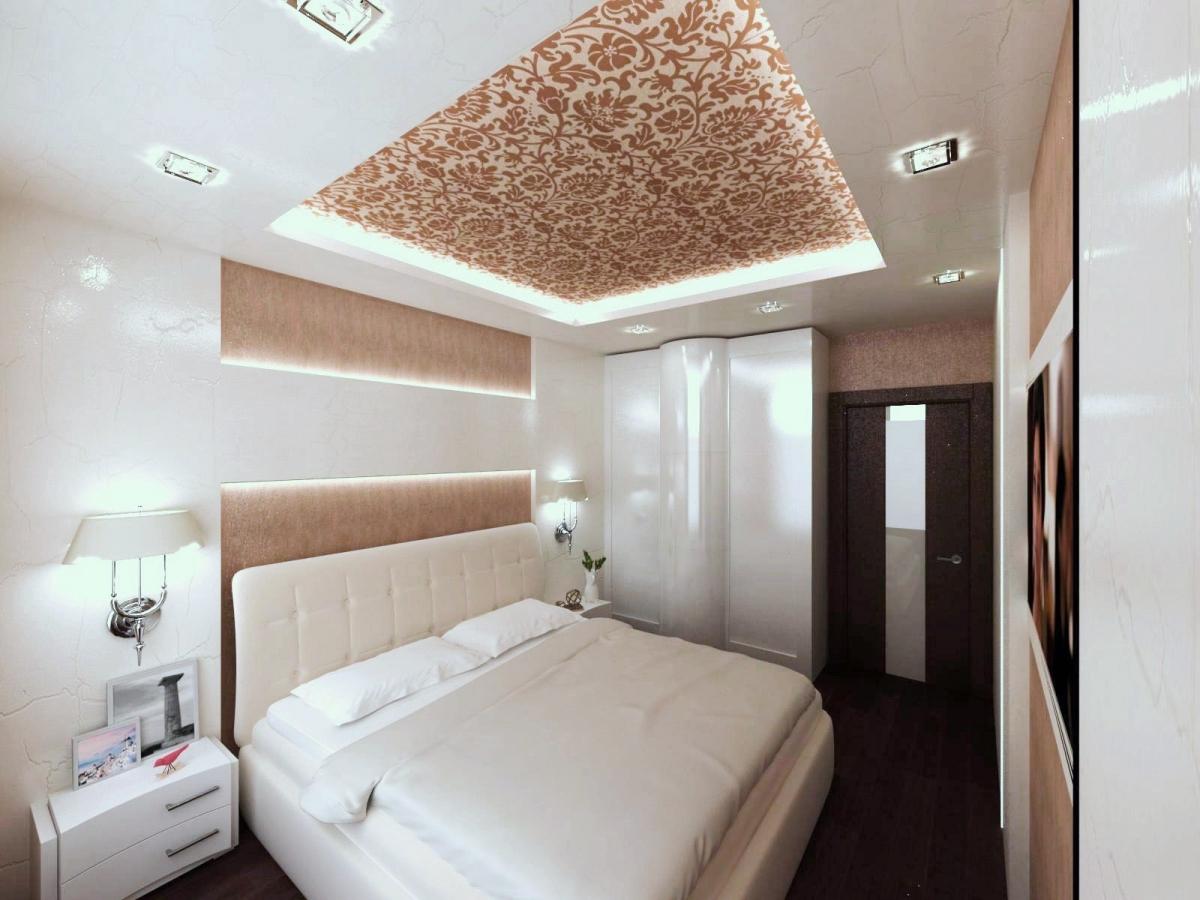 спальня в стиле арт-деко в интерьере дизайн рассеянное освещение белый