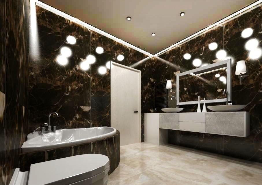 ванная в стиле арт-деко в интерьере дизайн черный серебристый