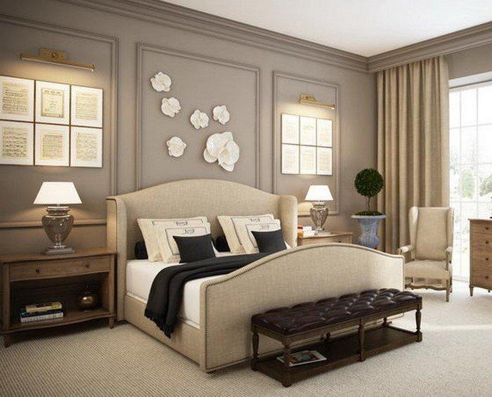 Современные идеи дизайна спальни 2016 фото лепнина на стене