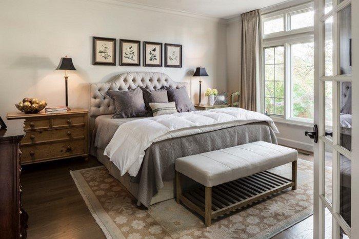 Современные идеи дизайна спальни 2016 фото мягкое изголовье светло серые тона
