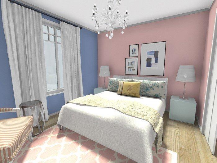 Современные идеи дизайна спальни 2016 фото розовые голубые стены