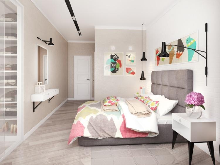 Современные идеи дизайна спальни 2016 фото серая кровать высокое изголовье