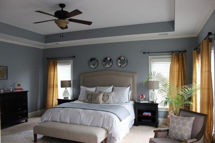 Современные идеи дизайна спальни 2016 фото серо-голубой белый