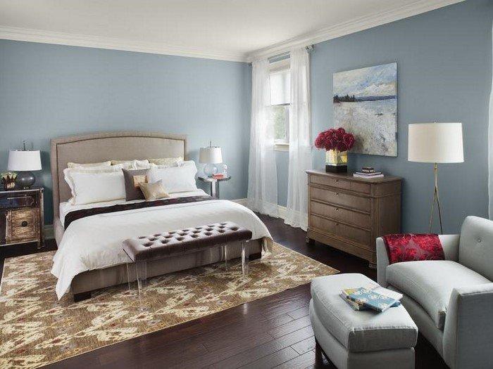 Современные идеи дизайна спальни 2016 фото серо-голубые тона