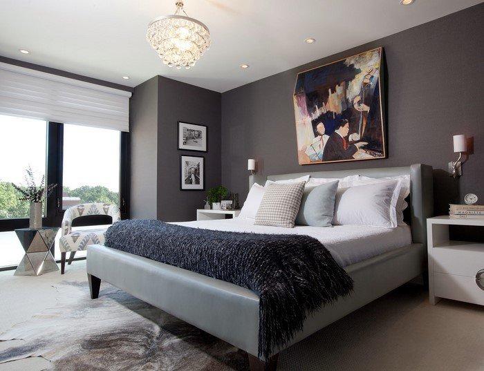 Современные идеи дизайна спальни 2016 фото серые стены кожаная кровать изголовье картина