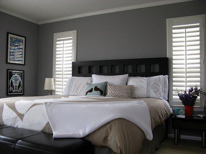 Современные идеи дизайна спальни 2016 фото серые стены