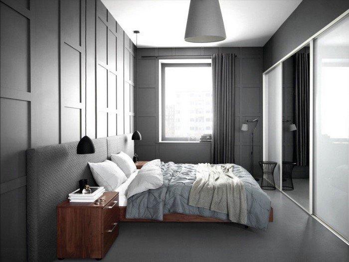 Современные идеи дизайна спальни 2016 фото темно-серый деревянная мебель
