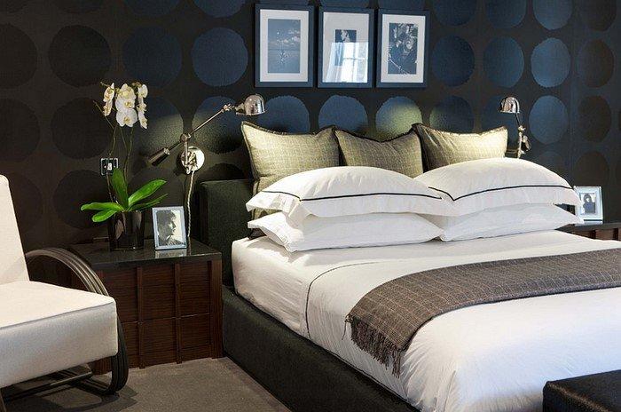 Современные идеи дизайна спальни 2016 фото темные стены