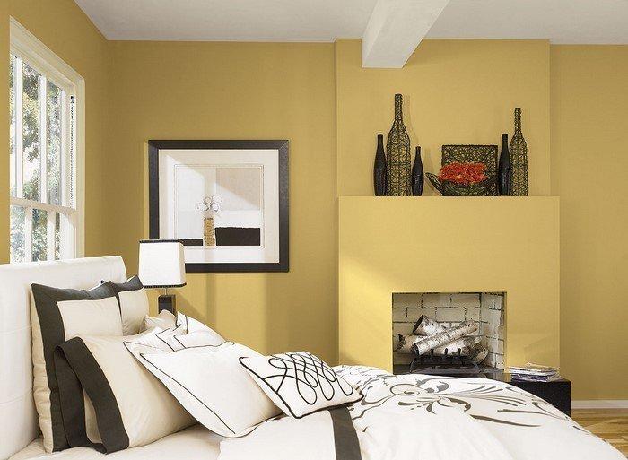 Современные идеи дизайна спальни 2016 фото желтые стены белый коричневый