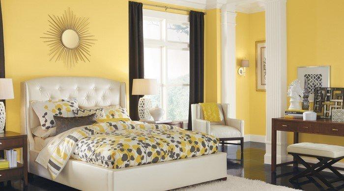 Современные идеи дизайна спальни 2016 фото желтые стены