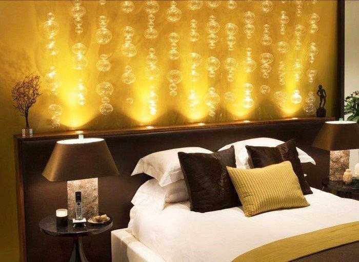 Современные идеи дизайна спальни 2016 фото золотистый коричневый подсветка