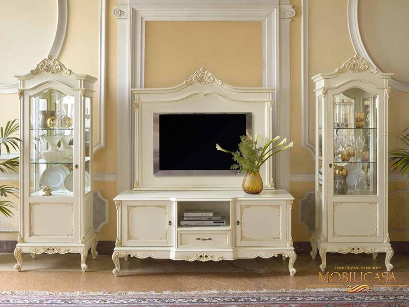 белая тумба под телевизор в классическом стиле фото