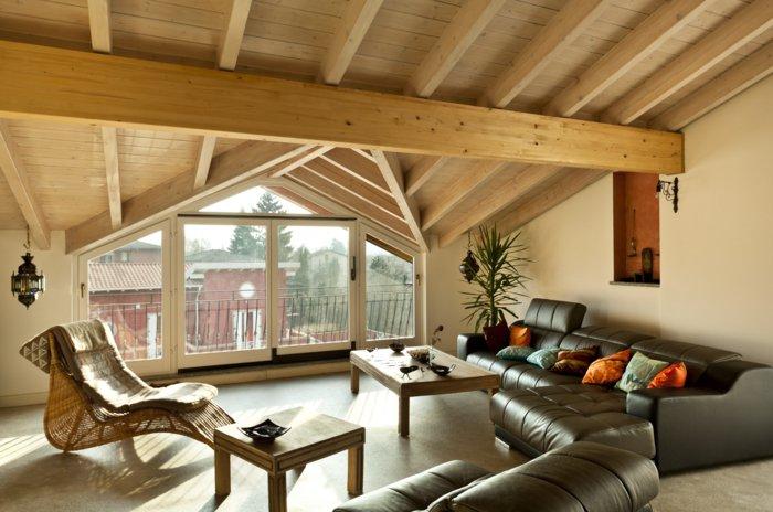 интерьер квартиры в стиле лофт фото гостиная мансарда деревянный потолок балки