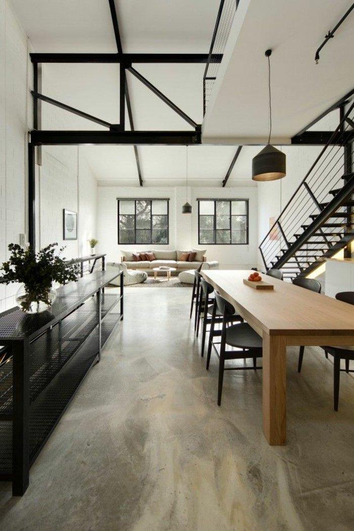интерьер квартиры в стиле лофт фото гостиная столовая черный белый
