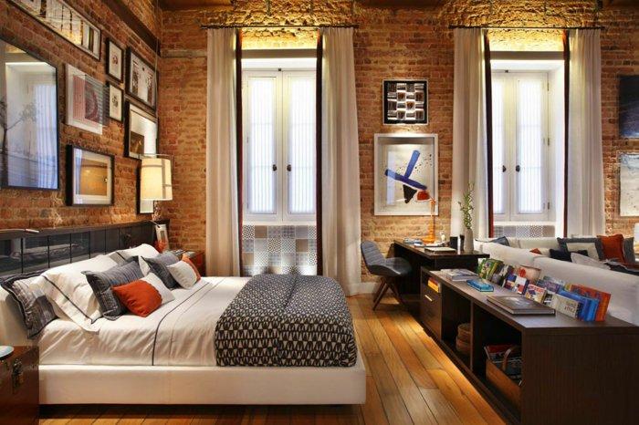 интерьер квартиры в стиле лофт фото спальня гостиная кирпичные стены