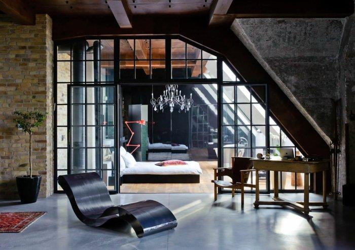 интерьер квартиры в стиле лофт фото спальня люстра кирпич