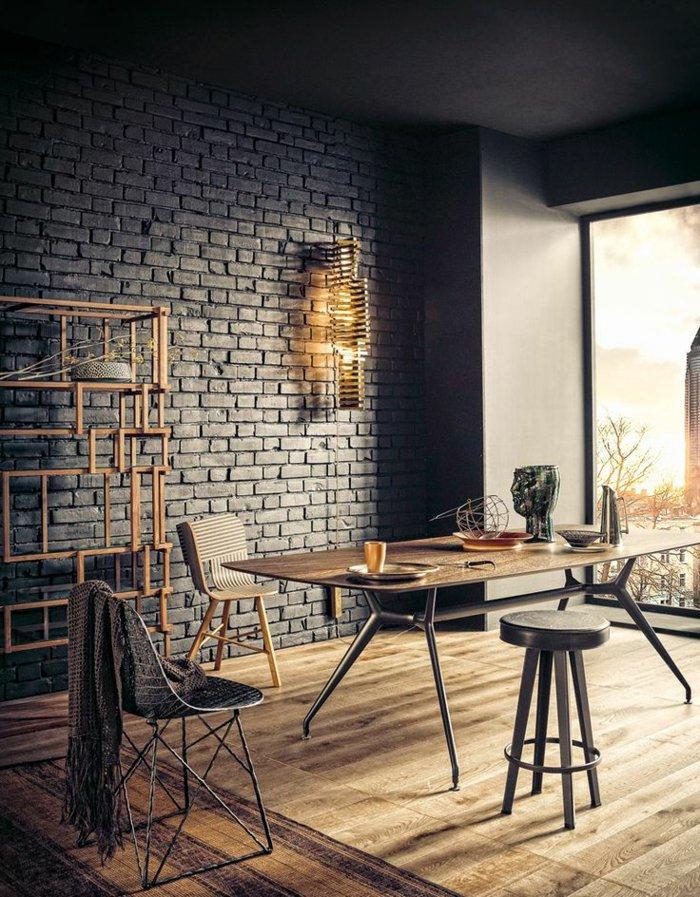 интерьер квартиры в стиле лофт фото столовая черная кирпичная стена