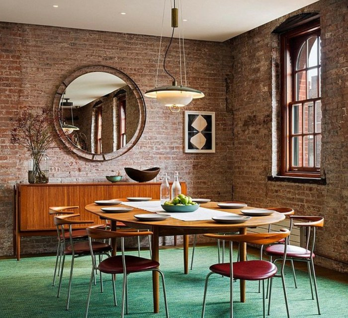интерьер квартиры в стиле лофт фото столовая круглый стол