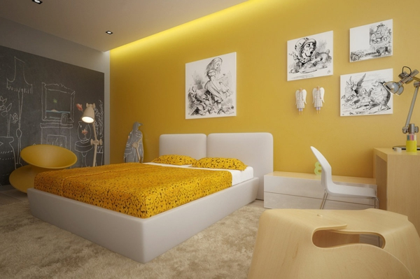 интерьер желтой спальни фото дизайн