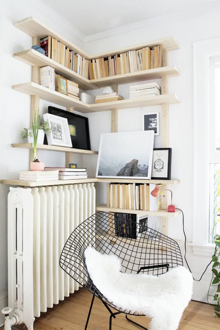 как оформить угол в гостиной фото книжные полки