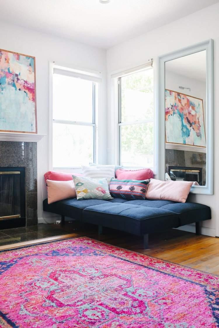 как оформить угол в комнате фото декорировать софа яркие подушки
