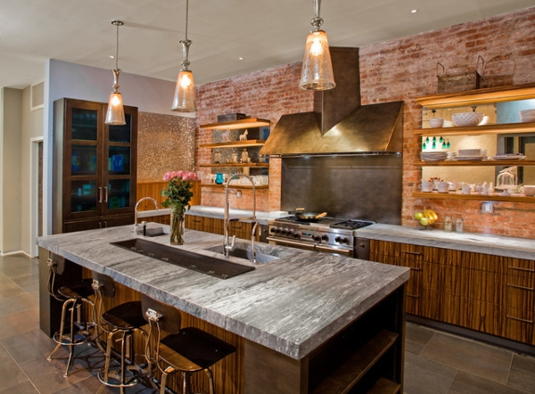 кухня в стиле лофт фото дизайн интерьера дерево мрамор кирпич