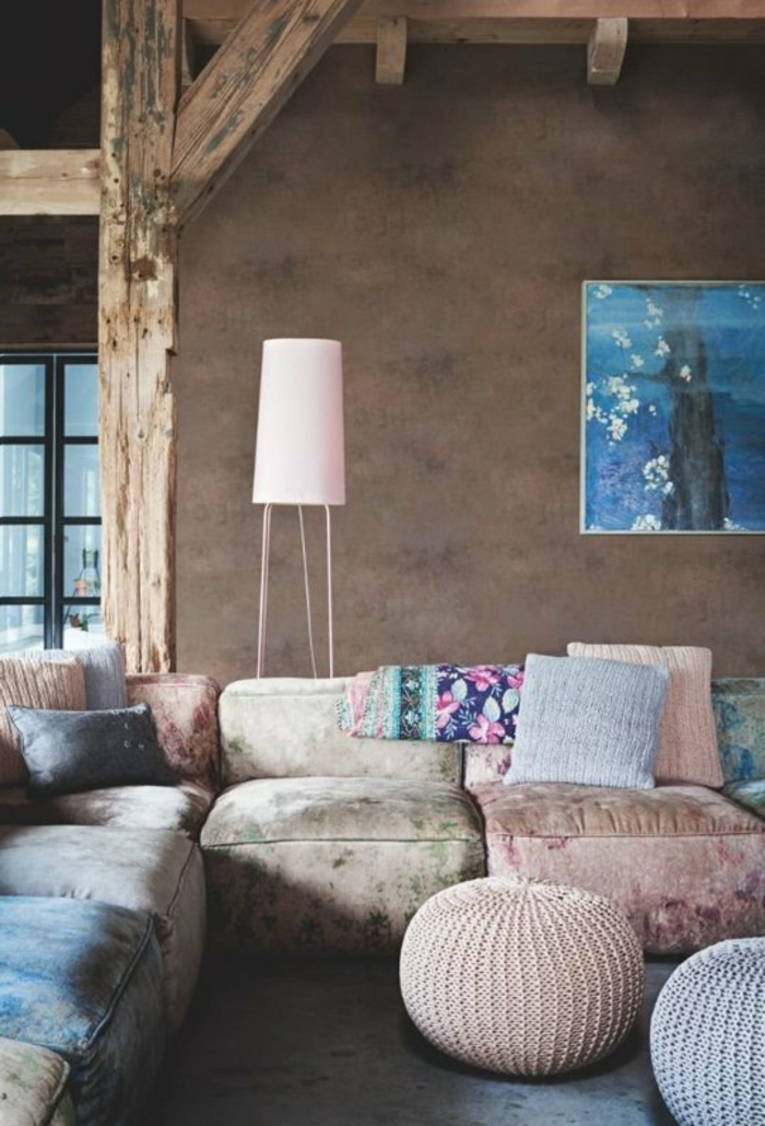розовый цвет в интерьере фото сочетание с натуральными коричневый голубой
