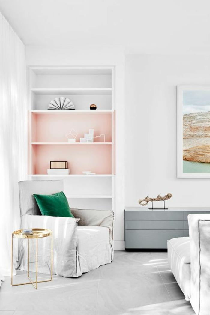 розовый цвет в интерьере фото стена сочетание серо белый