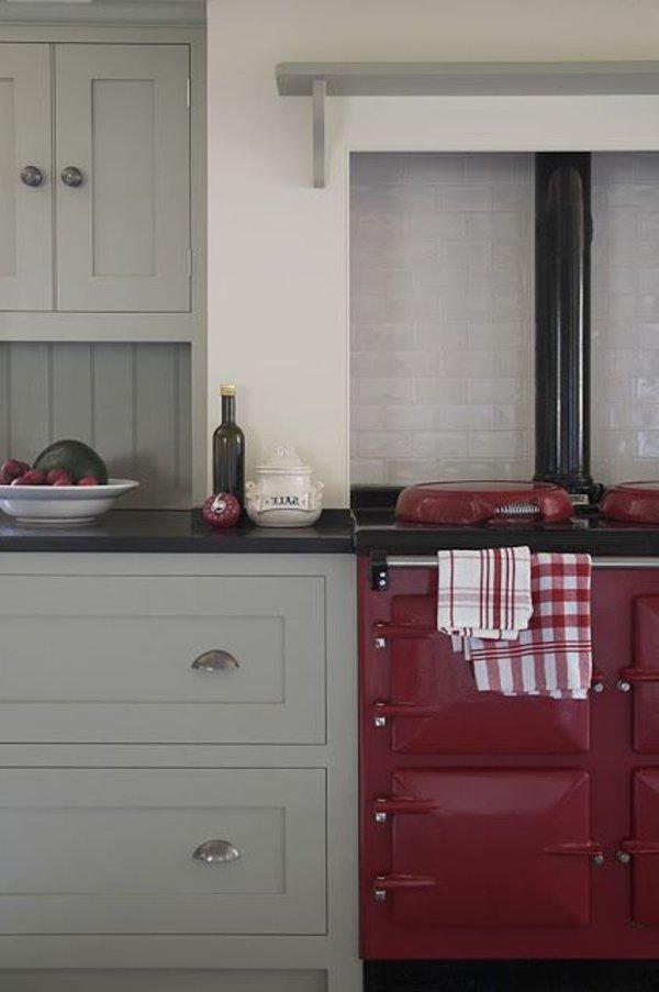 современный кантри стиль на кухне фото красный