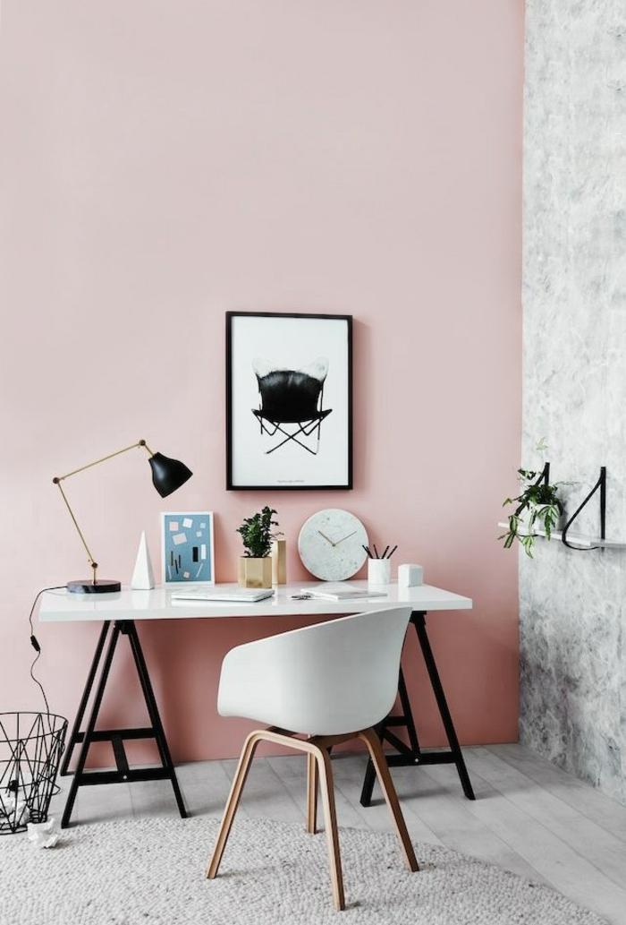 стена розовый цвет в интерьере фото кабинет сочетание с белым