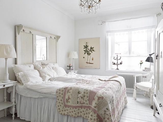 стиль шебби шик в интерьере спальни фото белый гардероб