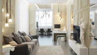 стиль современная классика в интерьере фото дизайн гостиной греческие скульптуры