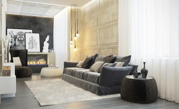 стиль современная классика в интерьере фото дизайн гостиной камин бежевые тона черный диван
