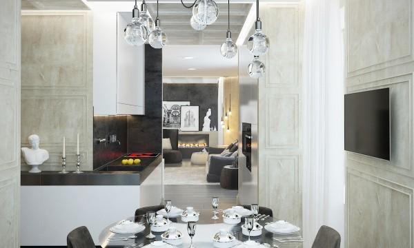 стиль современная классика в интерьере фото дизайн кухни студии гостиной
