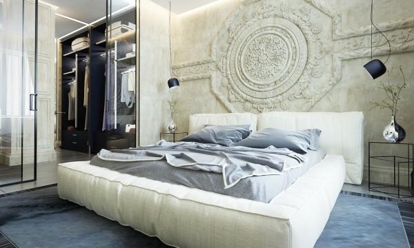 стиль современная классика в интерьере фото дизайн спальни бежевые тона лепнина
