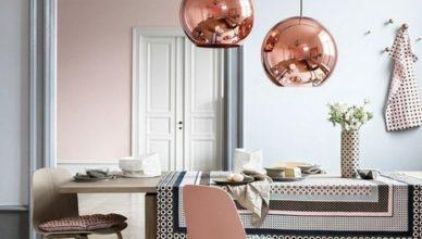 столовая розовый цвет в интерьере фото сочетание с серым медным
