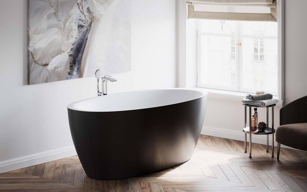 Красивая черно-белая ванна из литого камня 7